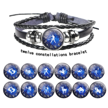12 constellation leather  bracelet woven beaded couple glass buckle replaceable accessories size adjustable new pulsera
