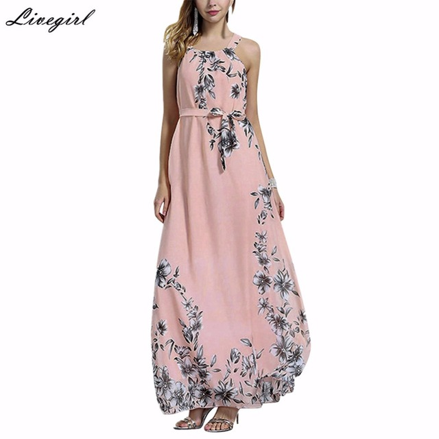 cbd7f6569af5 Sexy Summer Bohemia Dress Halter Neck Floral Print Sleeveless Chiffon Long  Maxi Boho Beach Dress Vestidos Plus Size