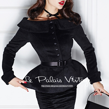 Le Palais Vintage 2016 Winter New Elegant Black Imitation Cashmere Slash collar Waist Was Thin Skirt short Blends Coat Women