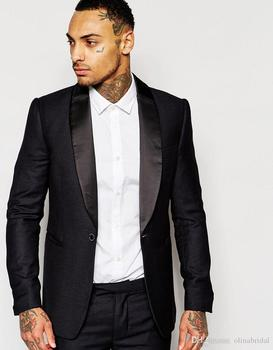 New Arrival One Button Black Groom Tuxedos Groomsmen Men's Wedding Prom Suits Bridegroom (Jacket+Pants) K:850