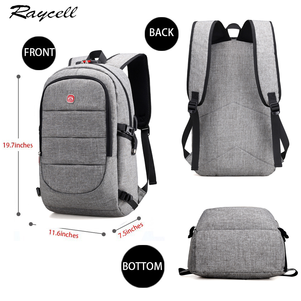 20347fdc5a03 15.6 Inch Laptop Anti-theft Men Backpack With USB Charging Headphone  Interface Port Lock Business Waterproof ...