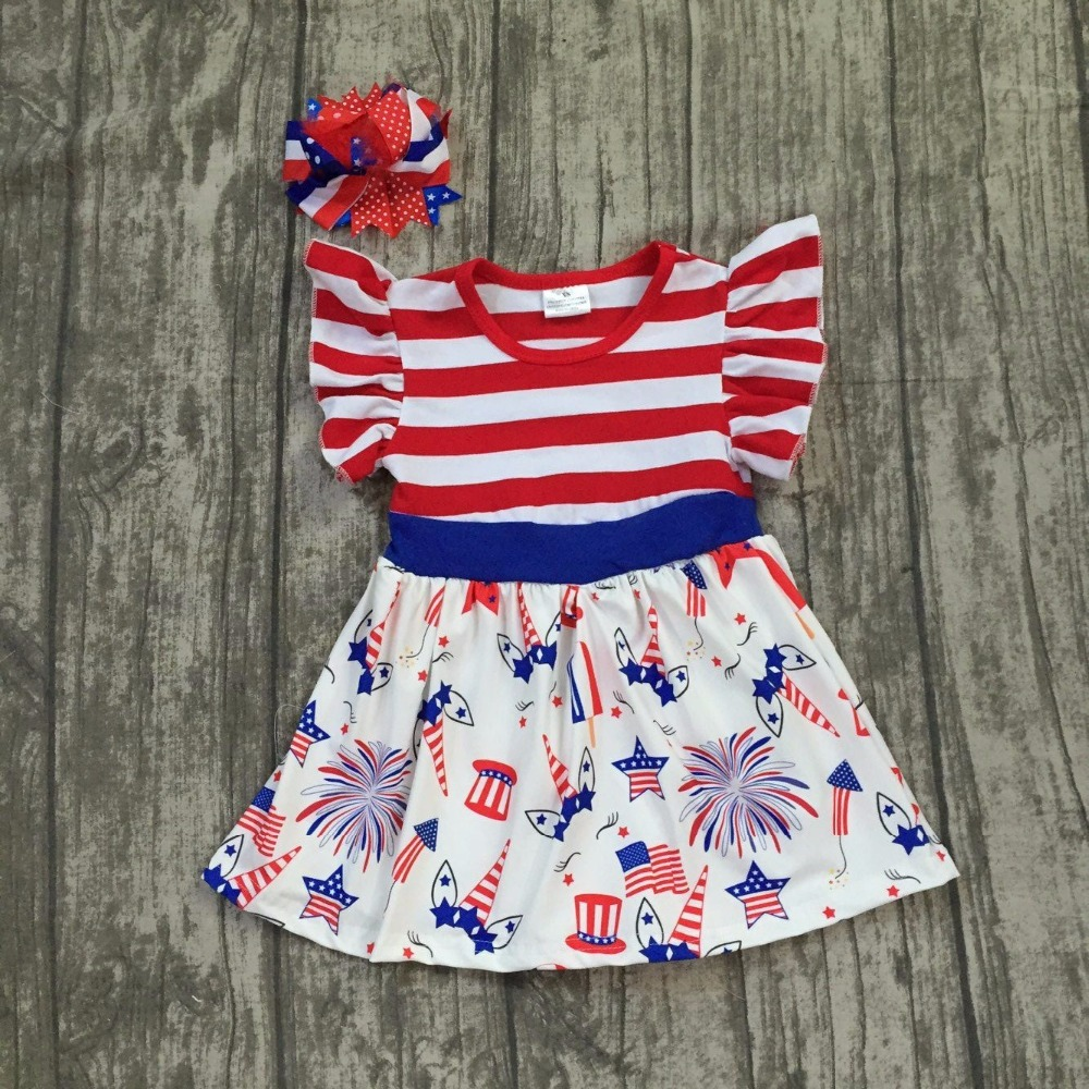 baby girls Summer dress children girls unicorn July 4th dress children red stripes top with unicorn dress with matching bows
