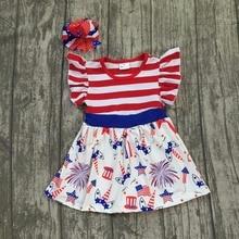 Для маленьких девочек летнее платье Детская одежда для девочек Единорог июля 4th платье дети красный в полоску Топ с Единорог Платье с соответствующими Луки