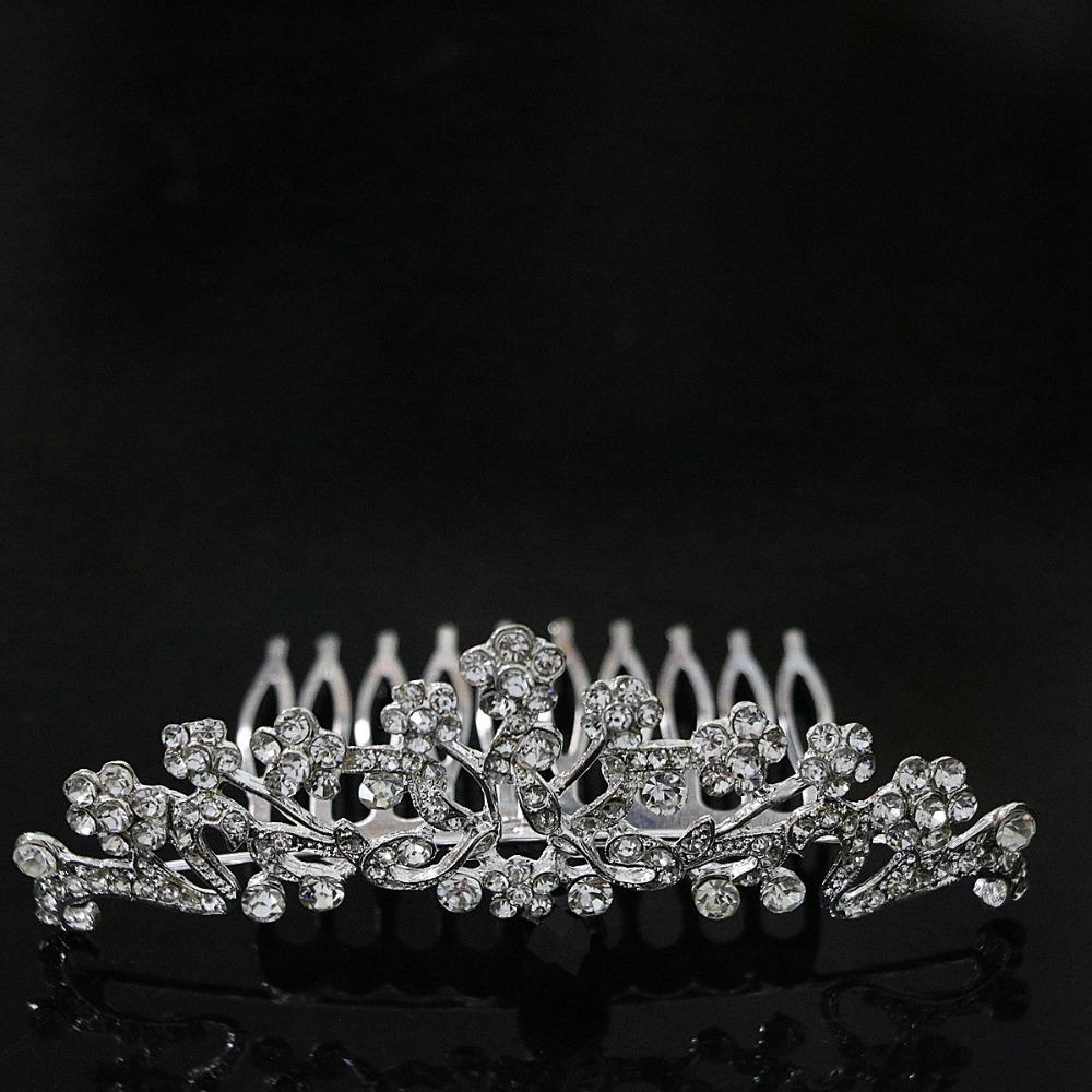 Hot sale silver plated crystal lovely hairpins charms women hair clip party weddings best headdress jewelry B1268-4
