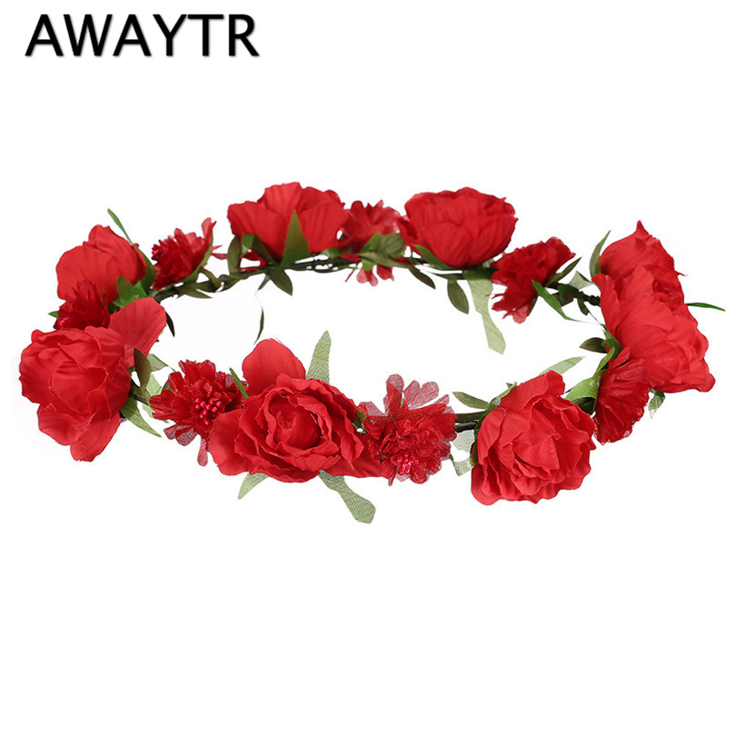 っAwaytr Venta caliente mujeres novia guirnaldas florales diadema ...