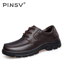PINSV Shoes Men Casual Man Flats High Quality leather Genuine Mens Shoes Male Genuine Leather Shoes Large Sizes 37-49