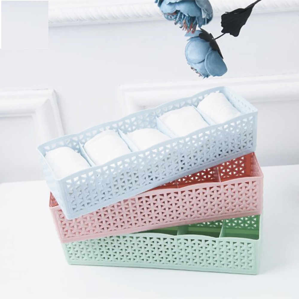 5 Cells Plastic Organizer Storage Box Tie Bra Socks Drawer Cosmetic Divider For Home Bedroom Storage Dropshipping Apr30