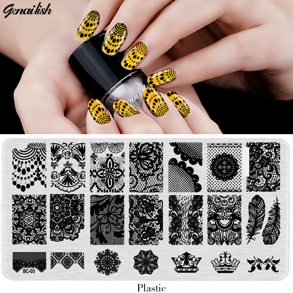 BC Nail Stamping Plates Plastic Nails Art Stamp Plastic Templates for Gel Polish