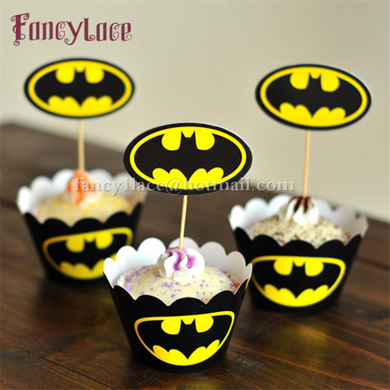 batman cupcake wrapper topper baby show decoration kids birthday party supplies 12 wrappers12 toppers - Christian Halloween Decorations