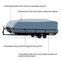 waterproof rain 14-24ft For Universals Heavy Boat Covers 201D Waterproof Dustproof Trailerable Pontoon Boat Cover Coat Protect Rain UV  D45 (2)