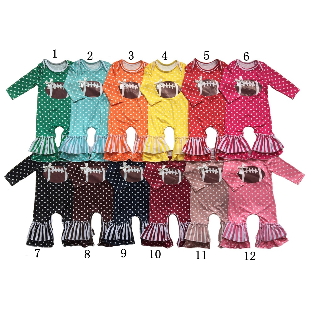 Wholesale New Arrival vinyl heated Football season Newborn Polka Dots&strips baby   Rompers   long sleeve ruffle pants girls   romper
