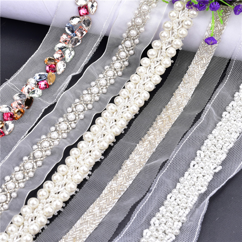 1yards Beaded Lace Ribbon Tape 31 Style Choose Trim Fabric DIY Embroidered Collar Decoration Lace Net Cord For Sewing