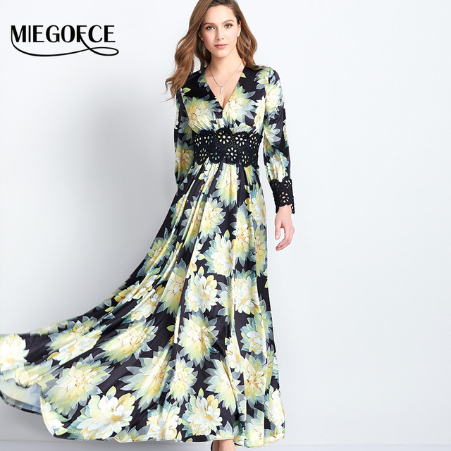 Women's Dress Elegant Fashion Long-sleeves Printing Boho Beach Holiday Evening Meeting Dress High Quality New Arrival MIEGOFCE