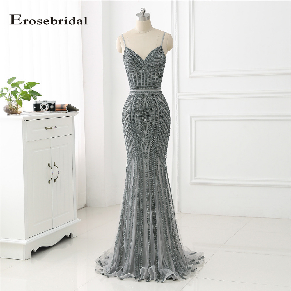 48 Hours Shipping 2018   Evening     Dress   Grey Crystal Mermaid Formal Women Gowns Off The Shoulder Vestido De Festa ZLR019
