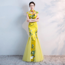 Китайский стиль свадебное длинное Cheongsam ретро сексуальное тонкое вечернее платье вечерние платья свадебное платье Qipao модная Дамская одежда Vestido желтый
