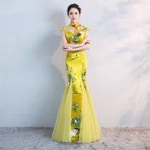 af9a9174ee9 Style chinois mariage Long Cheongsam rétro Sexy mince soirée robe de soirée  robe de mariage Qipao