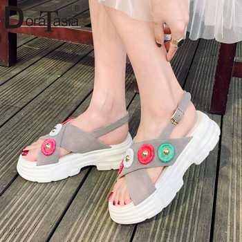DORATASIA 2019 New Sweet Appliques Geniune Leather Shoes Sandals Women Summer Platform Women Casual Shoes Woman Size 34-40