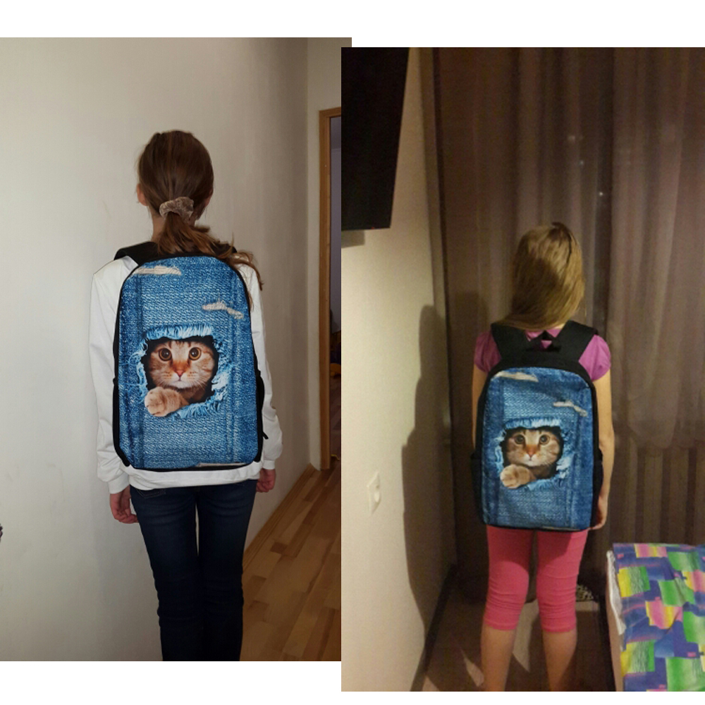 Купить с кэшбэком FORUDESIGNS Jeans Style Women Backpack School Backpacks for Teen Girls Canvas Cute Denim Animal Fox Print Children School Bags