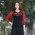 Resorte Rojo Y Negro Costura Bordado de Manga Larga Camiseta Ocasional camisa Otoño Nueva Vintage Cuello Redondo Mujeres de Gran Tamaño Delgado Tops