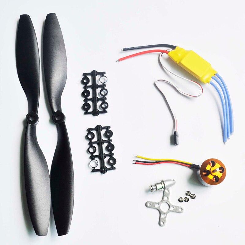 1 unids a2212 1000kv outrunner Motores + 1 unids 30a ESC + 1 pares 1045 negro Hélices para RC aviones Quad multicopter zmr DIY