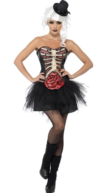 <font><b>Sexy</b></font> <font><b>Women</b></font> Zombie Cosplay Costumes Tube Top Shirt Mini <font><b>Dress</b></font> Skeleton Terror <font><b>Halloween</b></font> Carnival Masquerade Fancy <font><b>Dress</b></font> image