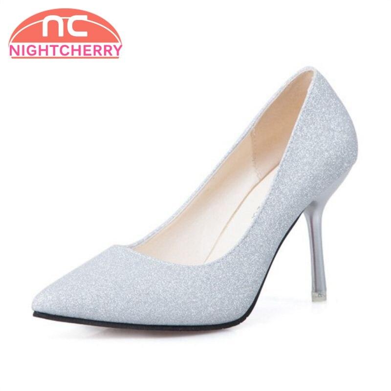 NIGHTCHERRY Elegant Women High Heel Shoes Pointed Toe Slip On Bling Thin Heel Pumps Sexy Party Shoes Women Footwear Size 34-39