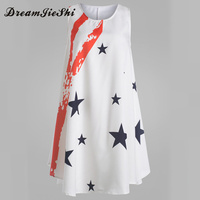 Dreamjieshi New Arrival Sleeveless Flower Print Boho Dresses Womens Summer Casual Round Neck Above Knee Mini