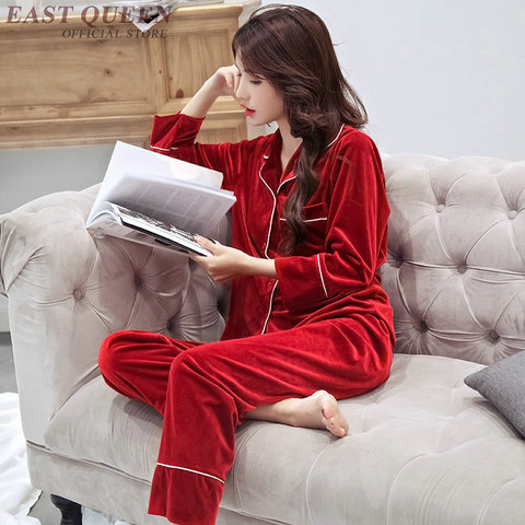 Female sleep & lounge in autumn and spring full sleeve pajama sets turn-down collar sleepwear women home clothes  AA3307  F Pakistan