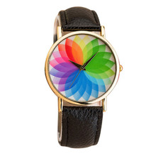 2017 Fashion Quartz Watch Women Summer New Product Woman Seven Color Lotus Leather Watch Quartz Watch Relogio Feminino
