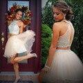 Sexy Duas Peças Strass Beading Curto do Regresso A Casa Vestidos de Moda Abrir de Volta vestido de Baile Vestidos Para a Formatura do Regresso A Casa Do Vestido