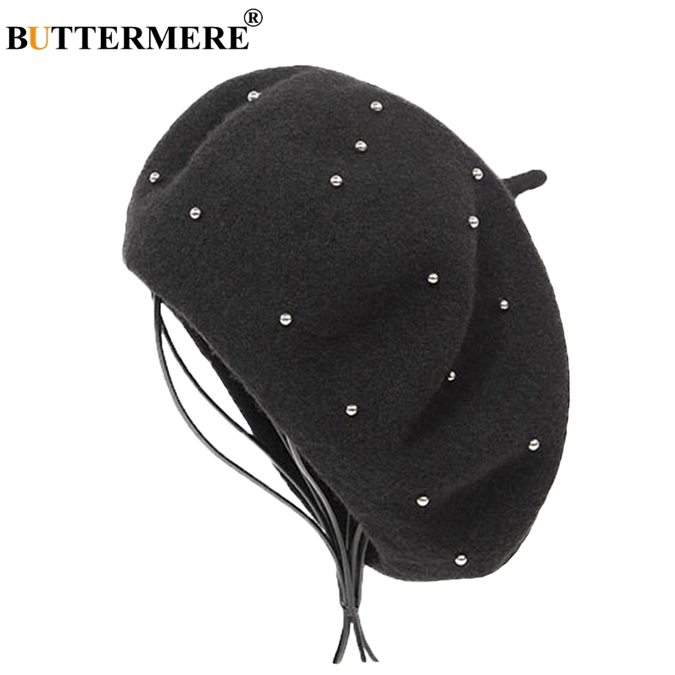 5eb553cd BUTTERMERE Winter Hats For Women Berets Wool Black Painter Cap Female Pearl  Vintage Warm French Berets