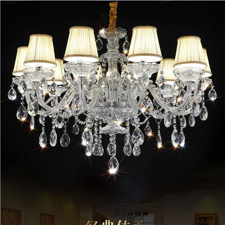 цена на Fashion top K9 crystal chandelier 10 arms Chandeliers Living Room Lamps Lighting Modern Crystal Chandelier With Lampshade