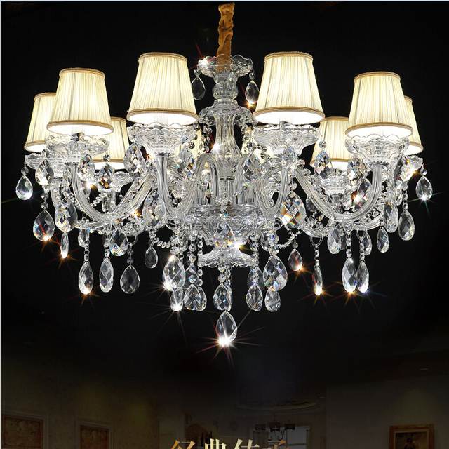 Fashion top K9 crystal chandelier 10 arms  Chandeliers Living Room Lamps Lighting Modern Crystal Chandelier  With Lampshade
