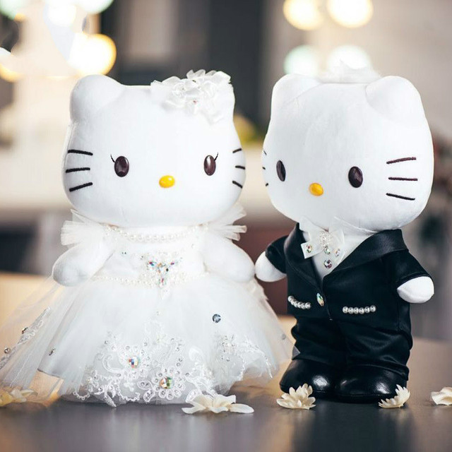 1pair 20cm 30cm Wedding Couple Gifts Hello Kitty Cat Melody Stuffed Plush Animals