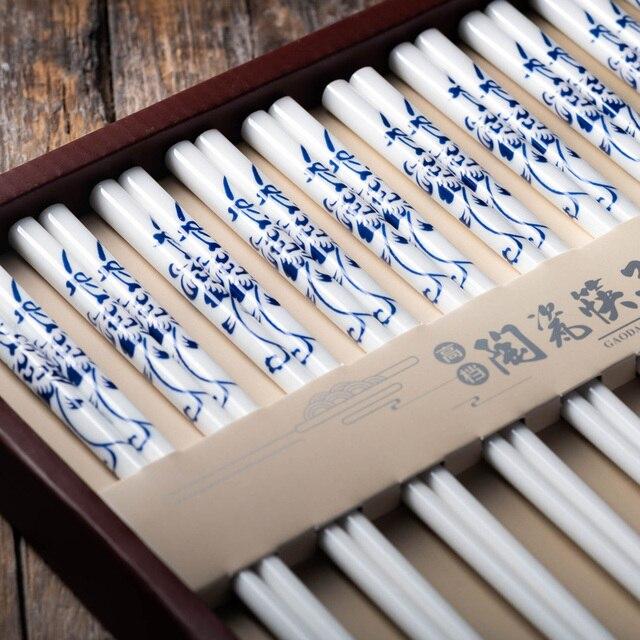 10 pairs / set Chinas environmental protection bone china blue and white design ceramic chopsticks