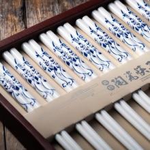 10 ペア/セット中国の環境保護ボーンチャイナ青と白のデザインセラミック箸