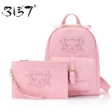 fashion leather backpack women bag set cute Cat school bags for girls small clutch newest multifunction
