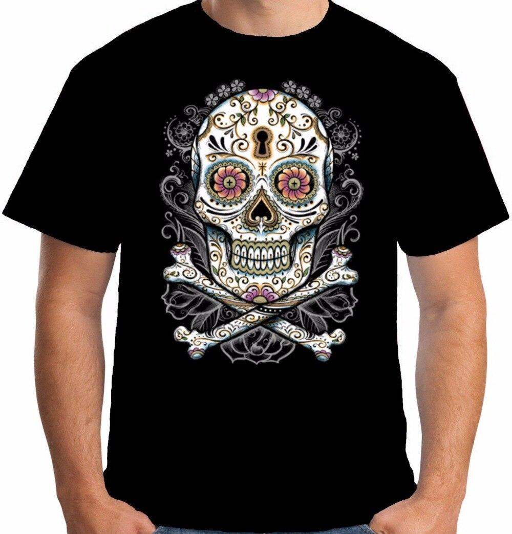 Design t shirt en ligne - En Ligne T Shirts Design Gildan Court Top Tatouage Sucre Cr Ne Pirate D Horreur Mal