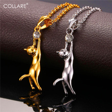 Collare Necklace Cat Jewelry Necklaces Pendants Gold Silver Color Wholesale Rhinestone Charms Animal Gifts Necklace Women