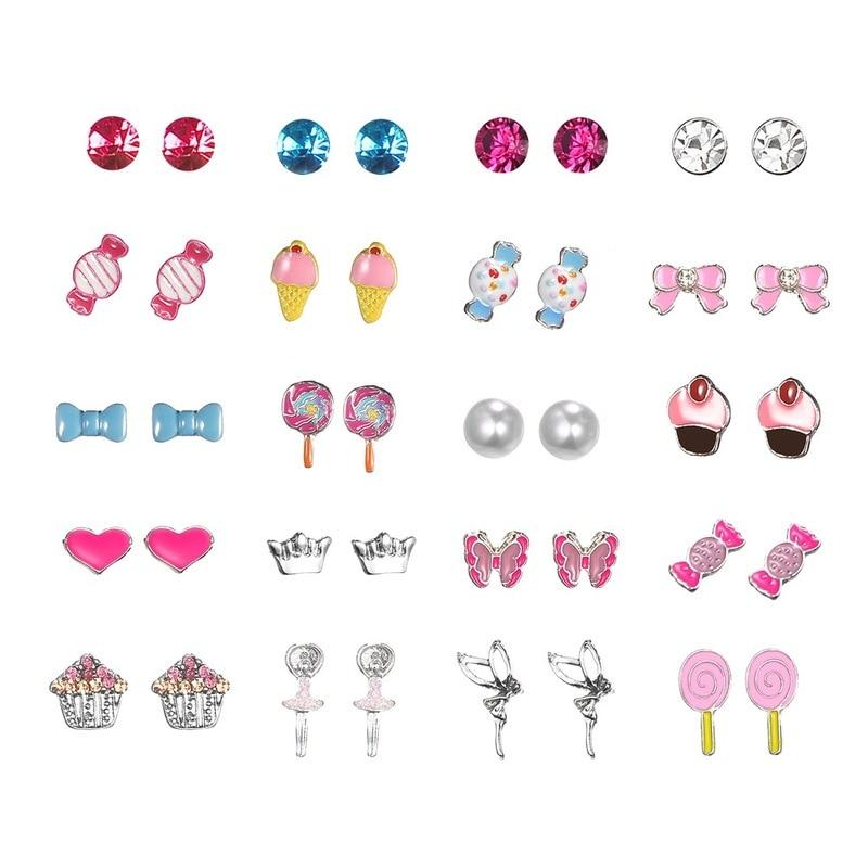 Wholesale Lovely Mix Candy Animal Small Stud Earrings Fruit Earring Set For Teen Girls Baby Kids Cute Gift Pretty Earings