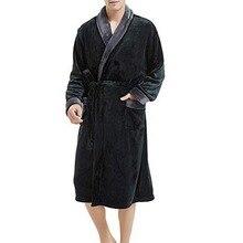 Модные повседневные мужские фланелевые халаты, халат с длинным рукавом для пары, мужской и женский халат, плюшевая шаль, кимоно, теплый мужской халат, пальто#1145