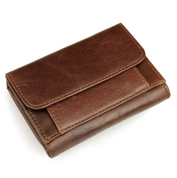 ผู้ชายกระเป๋าสตางค์สั้นย้อนยุคการค้ากระเป๋าสตางค์RFIDโล่กระเป๋าสตางค์ต่อต้านสแกนกระเป๋าสตางค์หนังแท้