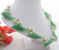Excellent! Pearl&Aventurine Flower&Crystal Necklace