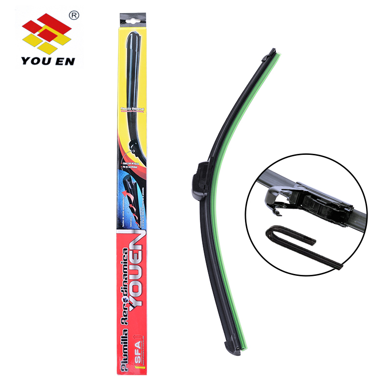 YOUEN 1Pc Universal U-type Soft Frameless Bracketless Car Windshield Wiper Blade 13 14 15 16 17 18 19 20 21 22 23 24 25 26 28 ...