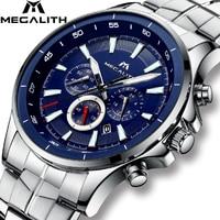MEGALITH Quartz Watches Mens Waterproof Chronograph Calendar Silver Stainless Steel Wrist Watch Gents Sport Business Men's Watch