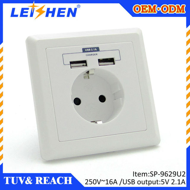 Norway Slovakia Sweden Usb Wall Socket Plug Charger Plate Receptacle Outlet With Output