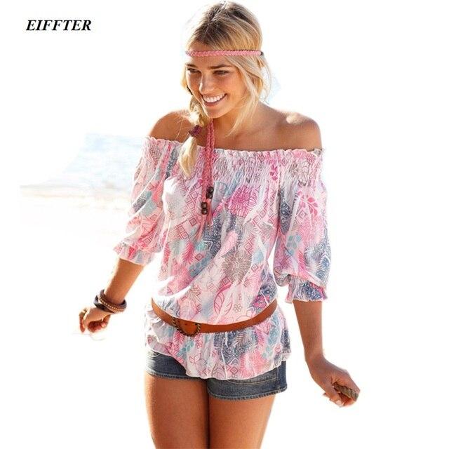 2016 New Summer Fashion Women Print Blouse Elegant Off Shoulder Strapless Female Beach Shirts 8905