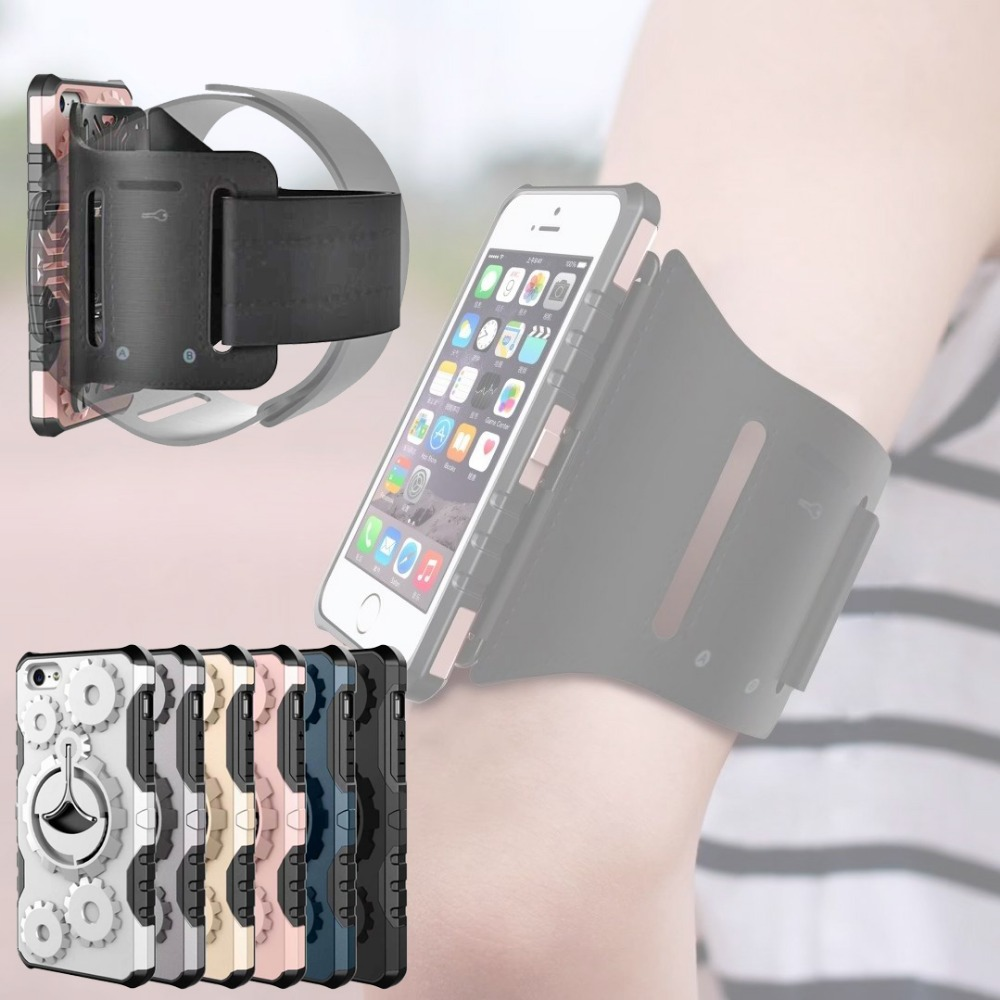 new product f6c8e a14f7 US $9.99  Running Armband For iphone 6 6S Plus Workout Arm band Anti Shock  Cover Protective Hard Shell Gym Outdoor i6plus Stand Case-in Armbands from  ...