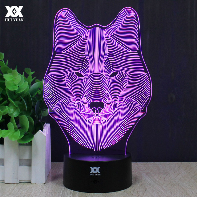 Wolf 3D Lamp Cute Animals Night Light LED Decorative Table USB Colorful Color Base Childs