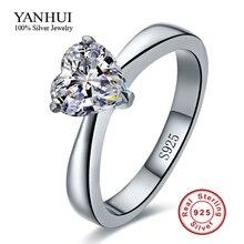 YANHUI Real 925 Anillos de Plata para Las Mujeres de Corazón Romántico 2 Quilates CZ Diamante Anillos de Compromiso de Boda Joyería Al Por Mayor R100